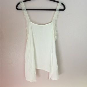 Free People // White Lace Sleeve Tank